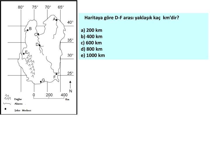 Haritaya göre D-F arası yaklaşık kaç  km'dir?