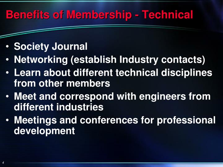 Benefits of Membership - Technical