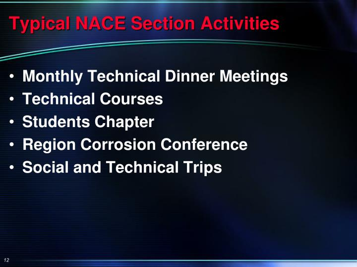 Typical NACE Section Activities