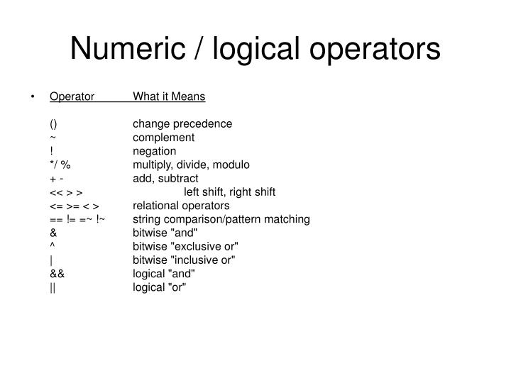 Numeric / logical operators