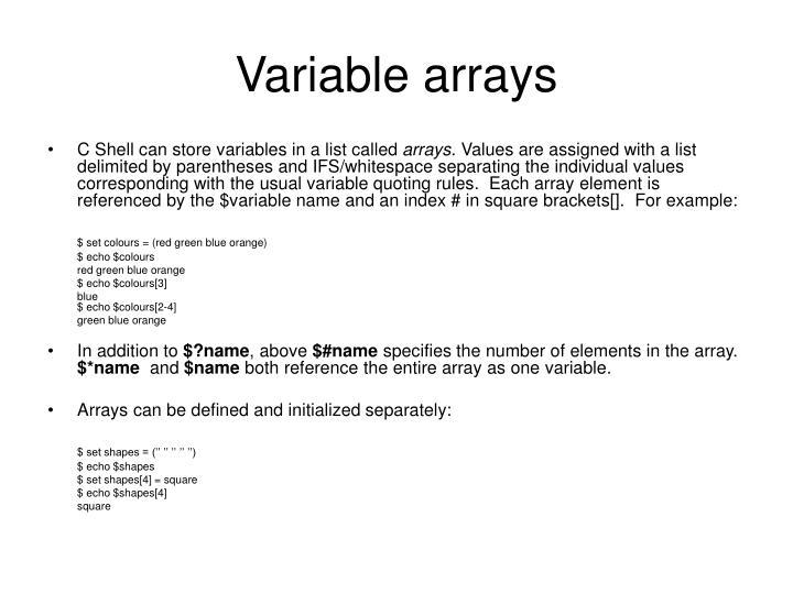 Variable arrays