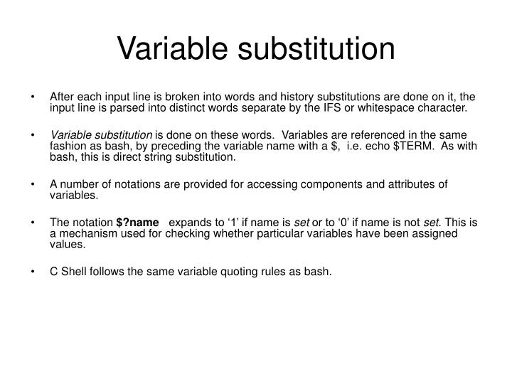 Variable substitution