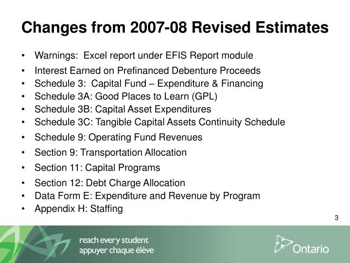 Changes from 2007 08 revised estimates
