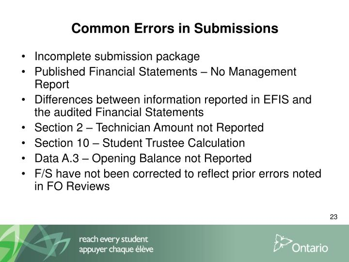 Common Errors in Submissions