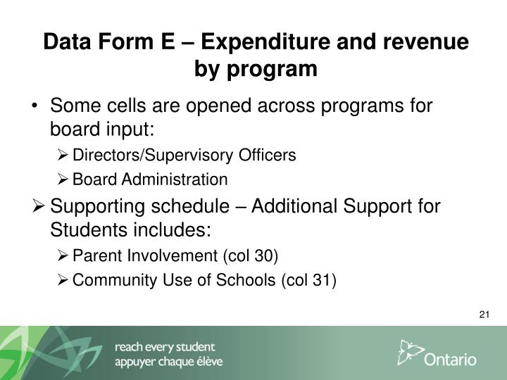 Data Form E – Expenditure and revenue by program