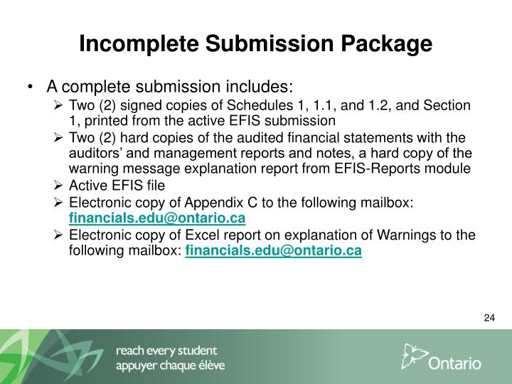 Incomplete Submission Package