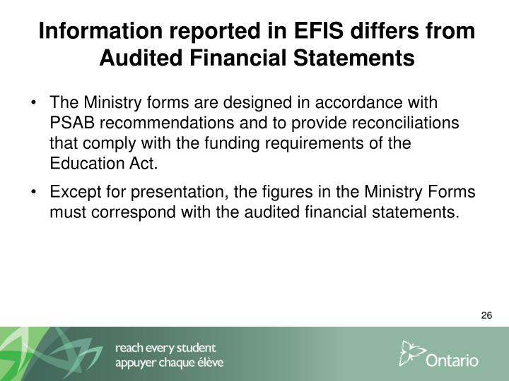 Information reported in EFIS differs from Audited Financial Statements