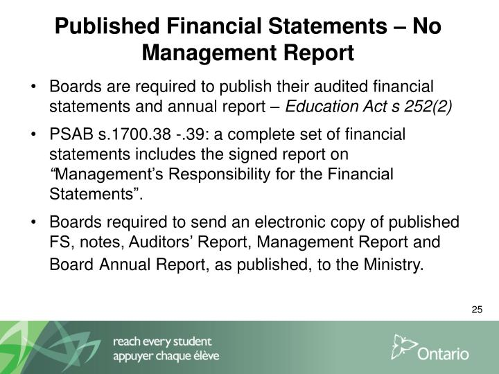 Published Financial Statements –