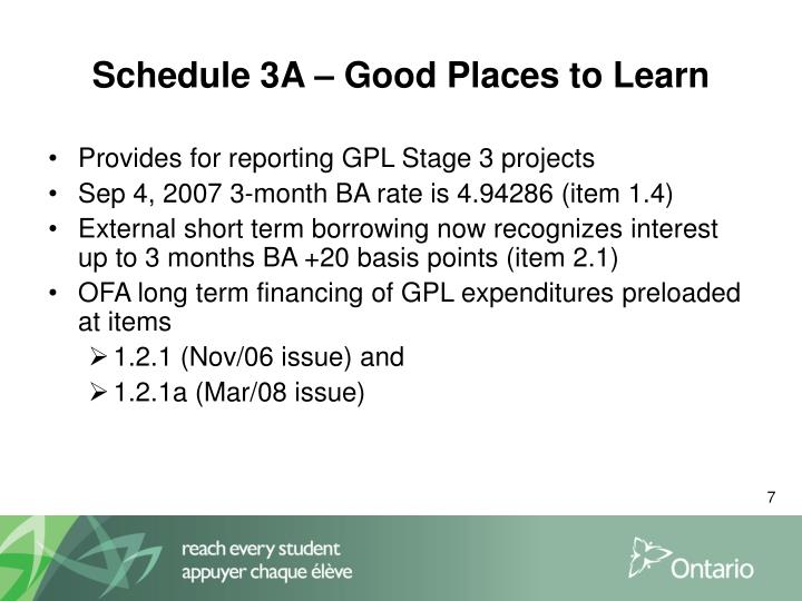 Schedule 3A – Good Places to Learn