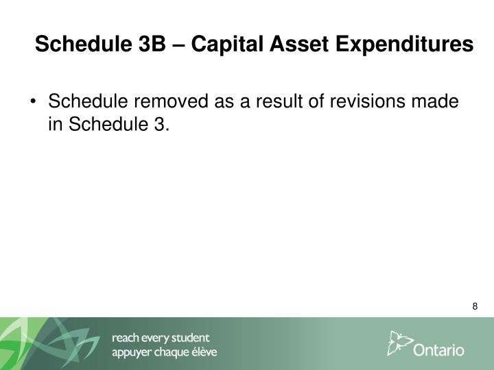 Schedule 3B – Capital Asset Expenditures