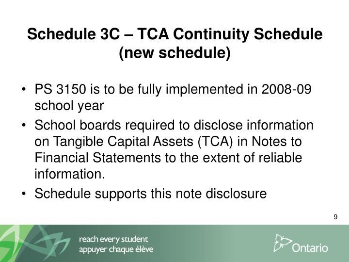 Schedule 3C – TCA Continuity Schedule