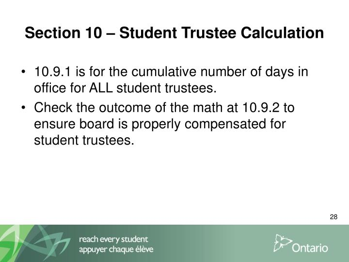 Section 10 – Student Trustee Calculation
