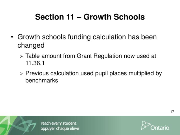 Section 11 – Growth Schools