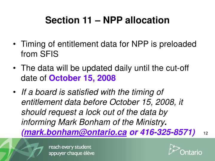 Section 11 – NPP allocation