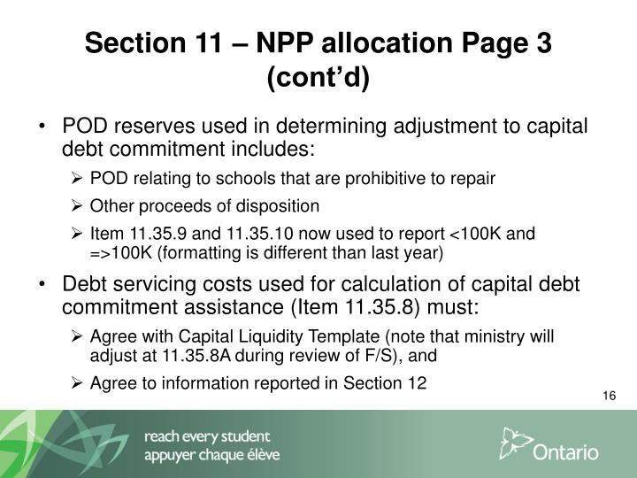 Section 11 – NPP allocation Page 3 (cont'd)
