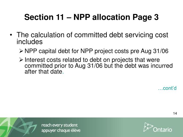 Section 11 – NPP allocation Page 3