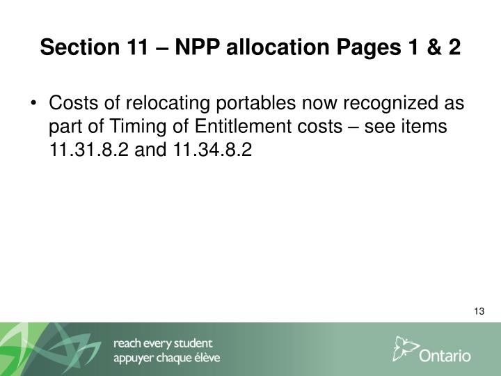 Section 11 – NPP allocation Pages 1 & 2