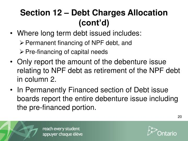 Section 12 – Debt Charges Allocation (cont'd)