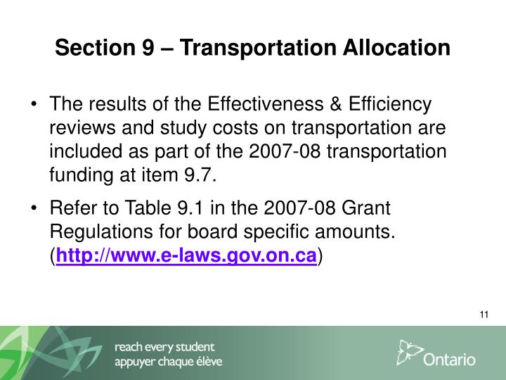 Section 9 – Transportation Allocation