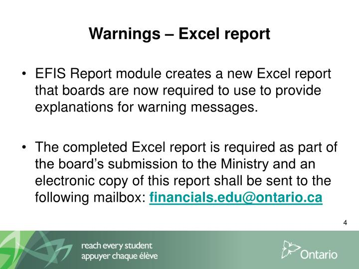 Warnings – Excel report