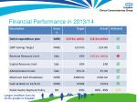 financial performance in 2013 14