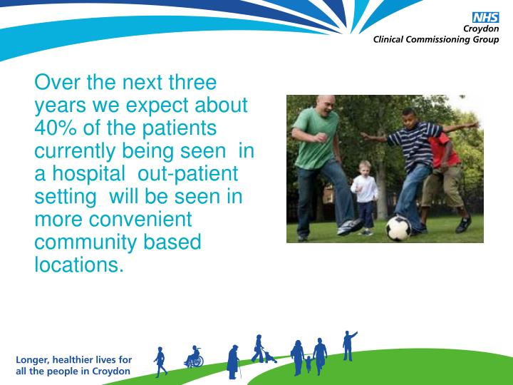 Over the next three years we expect about 40% of the patients currently being seen  in a hospital  out-patient  setting  will be seen in more convenient  community based locations.