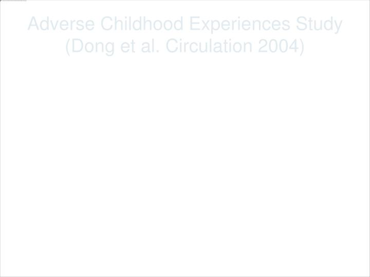 Adverse Childhood Experiences Study (Dong et al. Circulation 2004)