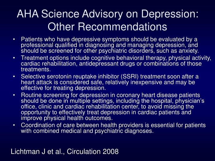 AHA Science Advisory on Depression: Other Recommendations