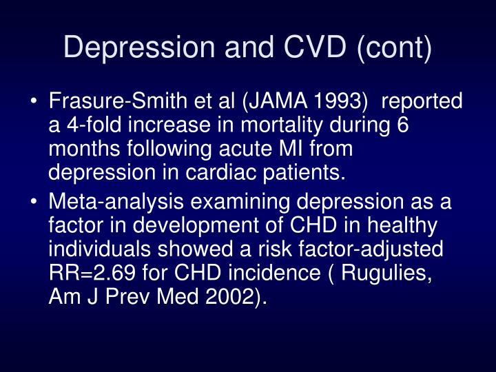 Depression and CVD (cont)