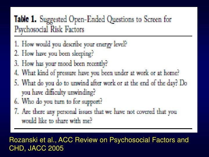 Rozanski et al., ACC Review on Psychosocial Factors and CHD, JACC 2005