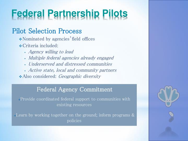 Federal Partnership Pilots