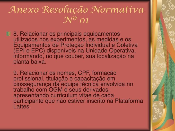 Anexo Resolução Normativa Nº 01