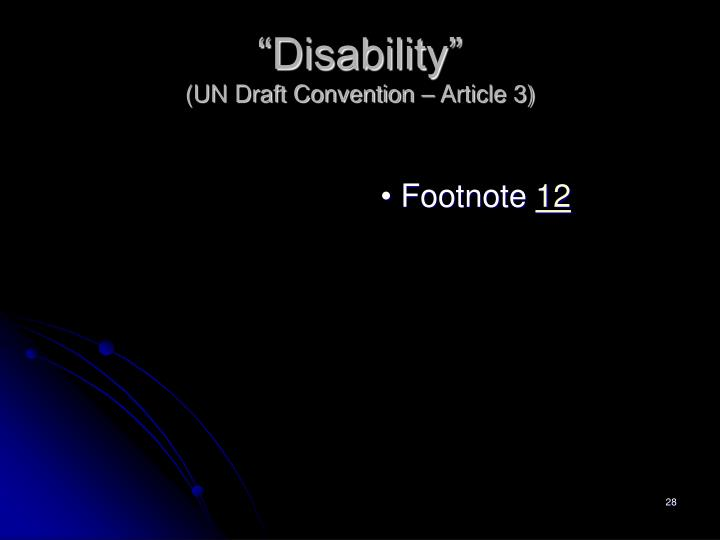 """""""Disability"""""""