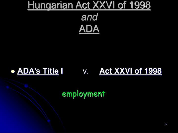 Hungarian Act XXVI of 1998