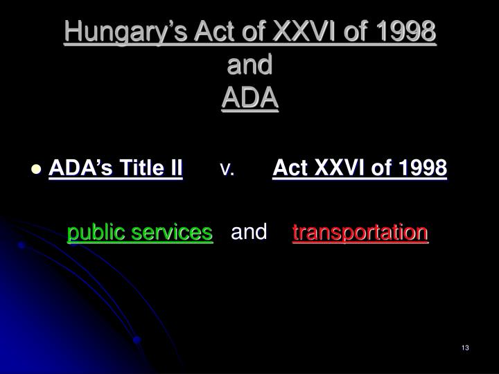 Hungary's Act of XXVI of 1998