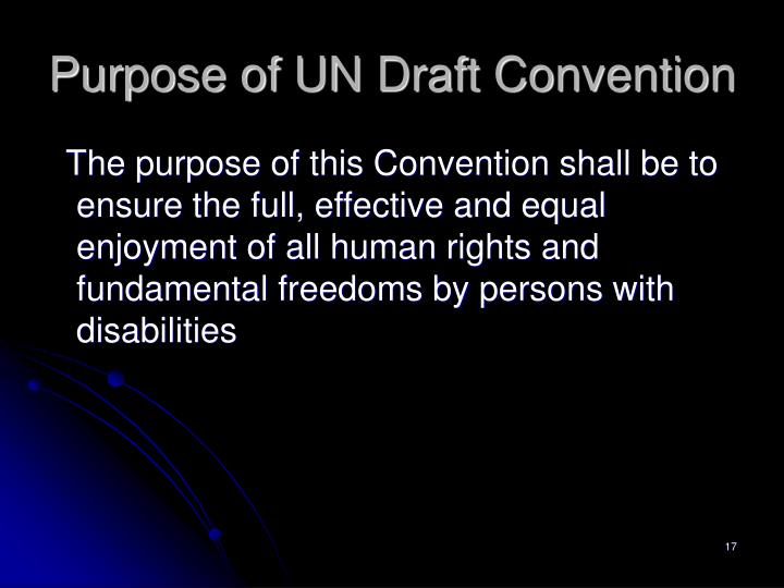 Purpose of UN Draft Convention
