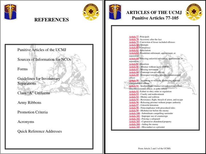 ARTICLES OF THE UCMJ