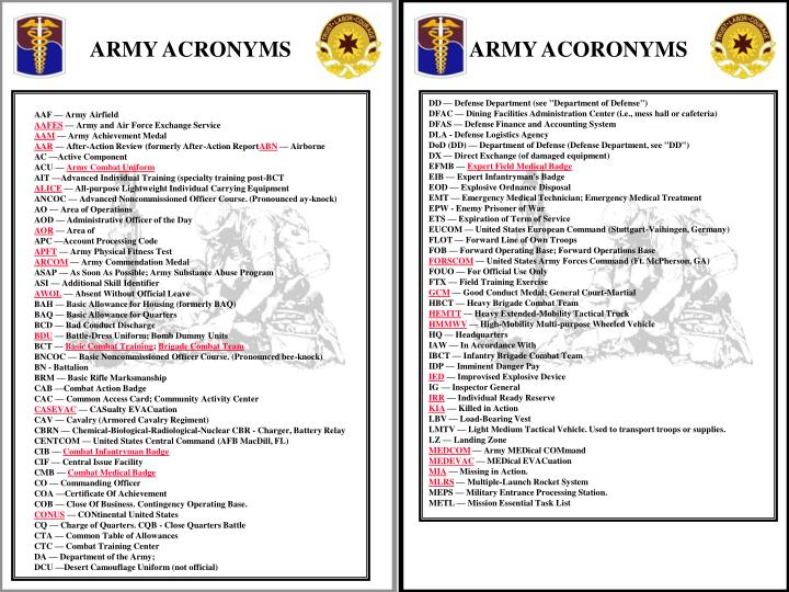 ARMY ACRONYMS