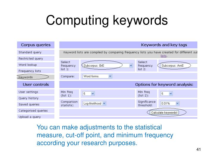Computing keywords