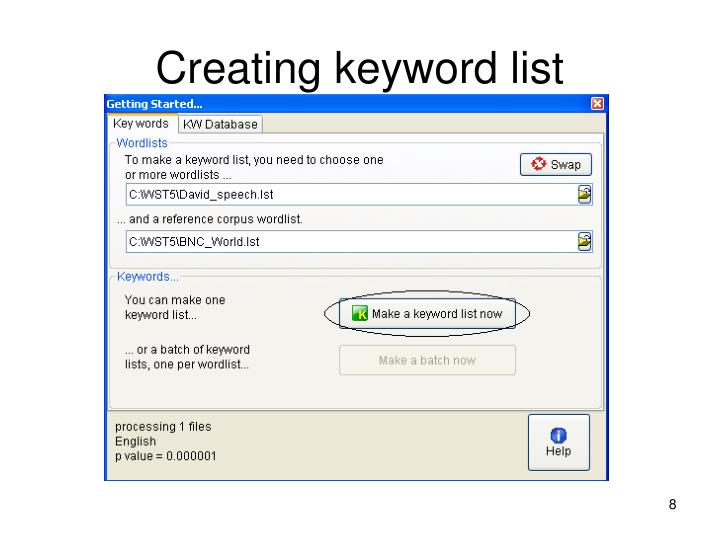 Creating keyword list