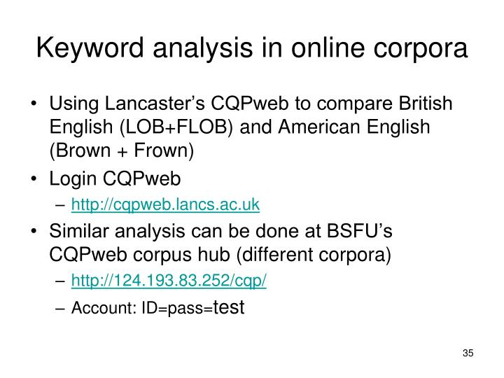 Keyword analysis in online corpora