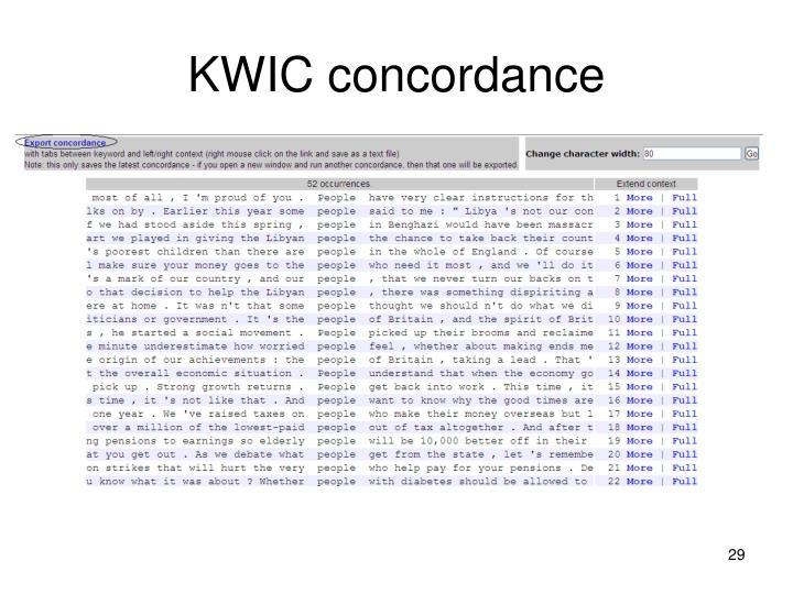 KWIC concordance