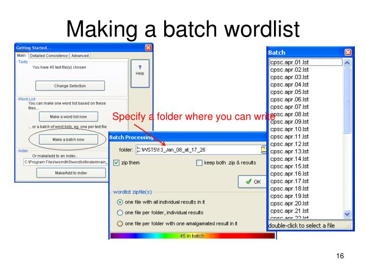 Making a batch wordlist