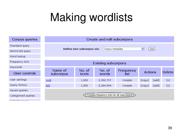 Making wordlists