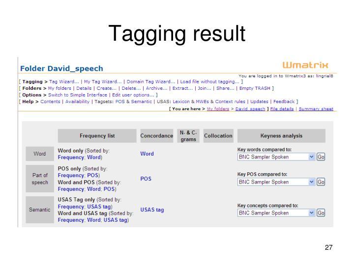 Tagging result