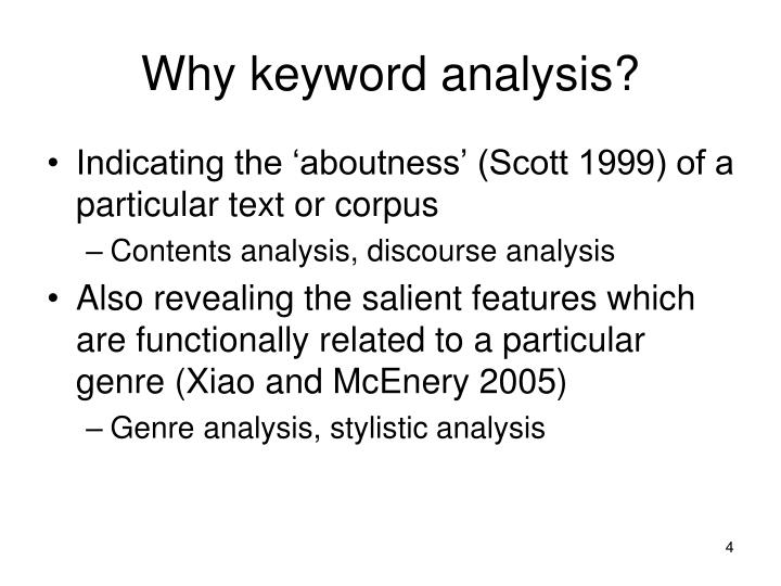 Why keyword analysis?