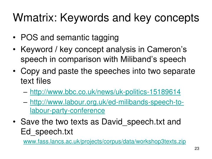 Wmatrix: Keywords and key concepts