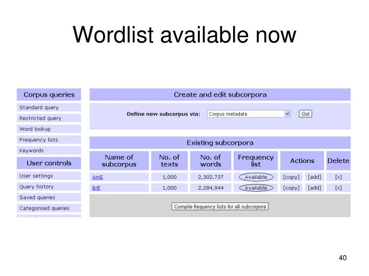 Wordlist available now
