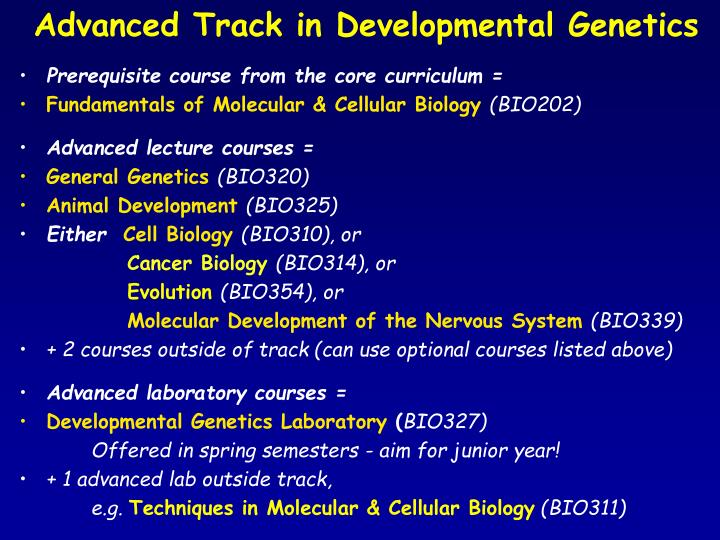 Advanced Track in Developmental Genetics