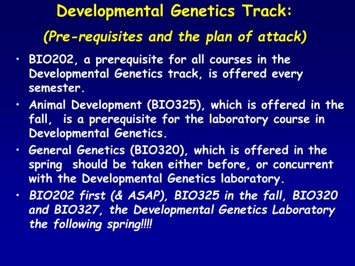 Developmental Genetics Track: